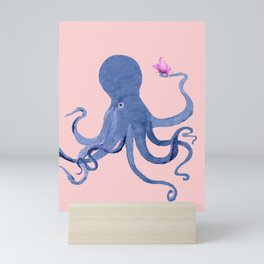 Blue Octopus and Butterfly Mini Art Print