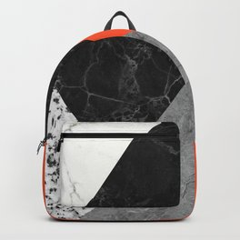 Black and White Marbles and Pantone Flame Color Backpack
