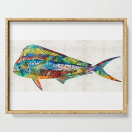 Colorful Dolphin Fish by Sharon Cummings Serving Tray