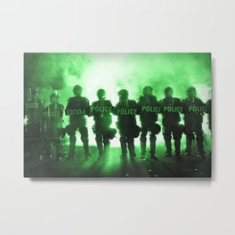 Riot Police Line - Green Cast Metal Print