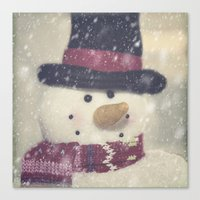 snowman Canvas Prints featuring Snowman by Photography and Fine Art by Pamela