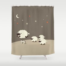 Sheeps jumping across a Fence Shower Curtain
