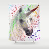unicorn Shower Curtains featuring unicorn by Vector Art
