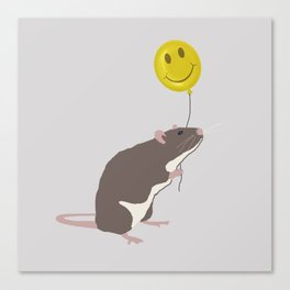 Rat with a Happy Face Balloon Canvas Print