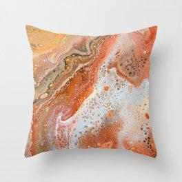 Mars Marble Acrylic Pour Print Throw Pillow