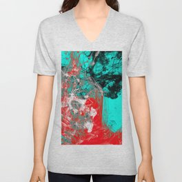 Marbled Collision - Abstract, red, blue, black and white mixed paint artwork Unisex V-Neck