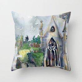 Stratford England Watercolor Throw Pillow
