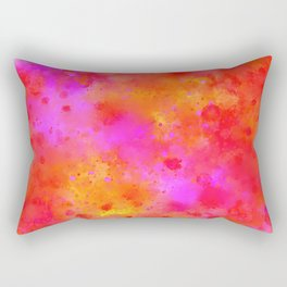 Watercolor Painting Bright Red & Summer Pink Abstract Paint Splashes Rectangular Pillow