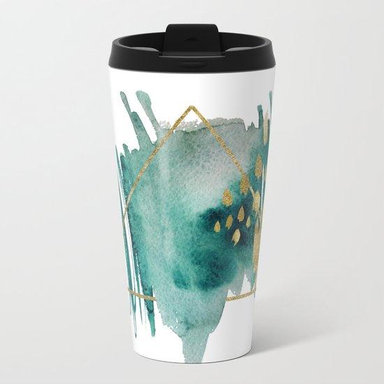 Abstract Geometric gold Metal Travel Mug