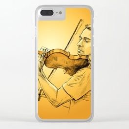 Violinist plays music - colour version Clear iPhone Case