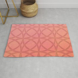 coral pink minimal pattern with geometric lines Rug