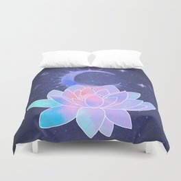 moon lotus flower Duvet Cover