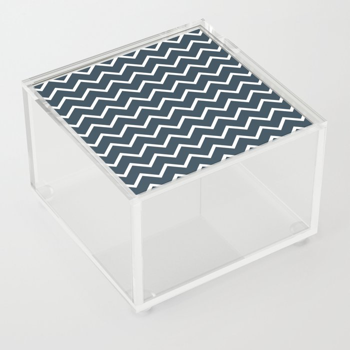 Navy And White Zig Zag Acrylic Box By Anne-marieart