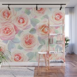 Faded Vintage Painted Roses Wall Mural