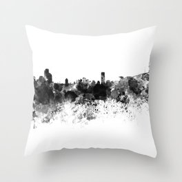 Seoul skyline in black watercolor Throw Pillow