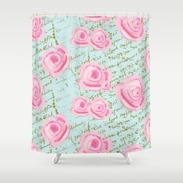 Pink  Roes and French Script Shower Curtain