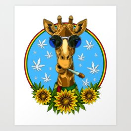 Hippie Giraffe Smoking Weed Art Print