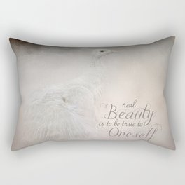 Real Beauty is to be True To Oneself White Peacock Rectangular Pillow