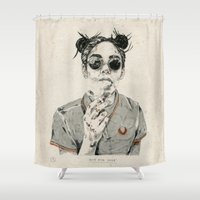 sale Shower Curtains featuring Not For Sale by NVM Illustration