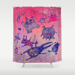levitating monsters Shower Curtain