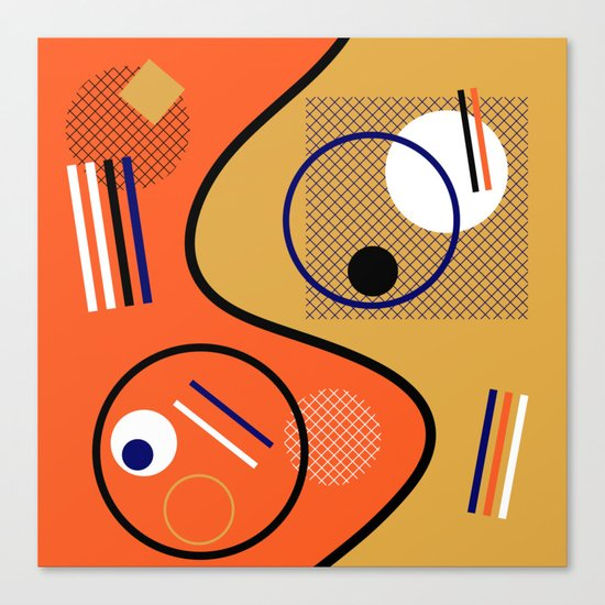 Opposing Sides - Abstract, orange and mustard, geometric, contrasting design Canvas Print