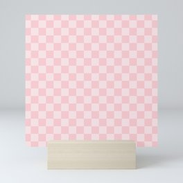Large Light Millennial Pink Pastel Color Checkerboard Mini Art Print