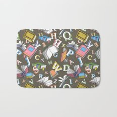 Books and Letters Bath Mat