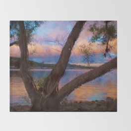 Ozark Sunrise Digital Watercolor Pastels Painting Throw Blanket