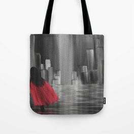 Girl With A Red Cape Tote Bag