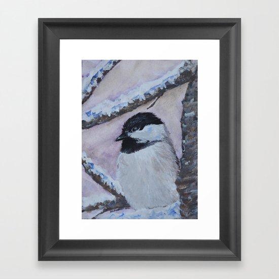 Maine Chickadee Framed Art Print
