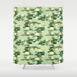 Waterlily pattern in Green Shower Curtain
