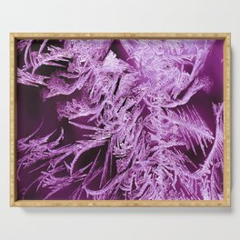 White Ice Crystals On A Purple Background #decor #society6 #homedecor Serving Tray