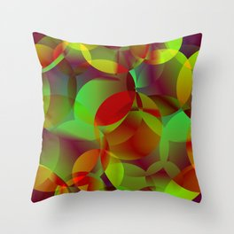 Vector abstract seamless background from space yellow and green bright circles and bubbles for fabri Throw Pillow