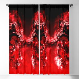 wolves hate monday splatter watercolor red Blackout Curtain