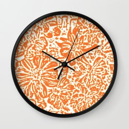Marigold Lino Cut, Tangerine Orange Wall Clock