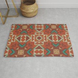 Orange Brown Teal Green Ethnic Mosaic Pattern Rug