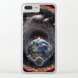 Moon, Earth, Sun and the Milky Way Galaxy Clear iPhone Case