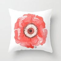 oana befort Throw Pillows featuring Red Poppy by Oana Befort