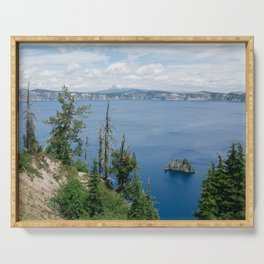 Brilliant Blue Waters of Crater Lake, Oregon Serving Tray