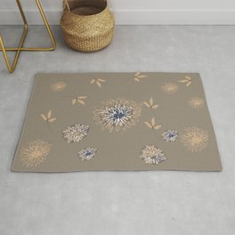 Contemporary Botanical Flowers and Leaves Rug
