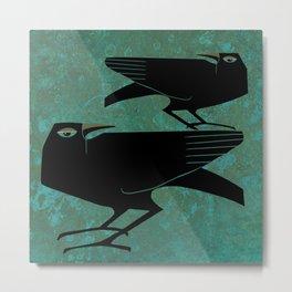 Odin's Ravens Huginn and Muninn Metal Print