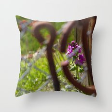 Iron and Purple Flowers Throw Pillow