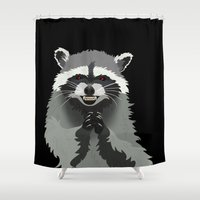 racoon Shower Curtains featuring Diabolical Racoon by Elise Cayouette