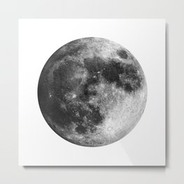 Moon   Full Moon   Black&White Art   Minimalism   Universe   Watercolor Painting Metal Print