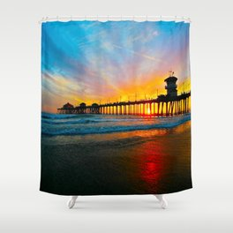 Sunset Huntington Beach Pier   Shower Curtain