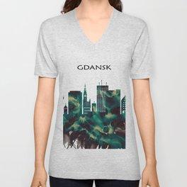 Gdansk Skyline Unisex V-Neck