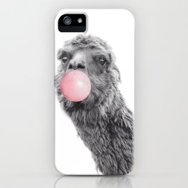 Cute Llama Alpaca Blowing Bubble Gum iPhone Case