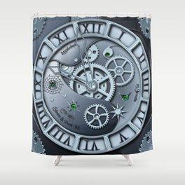 Steampunk clock silver Shower Curtain
