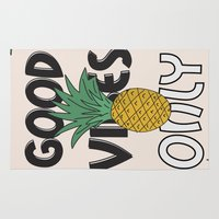 good vibes only Area & Throw Rugs featuring GOOD VIBES ONLY by .eg.