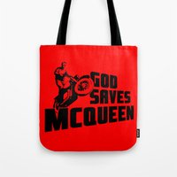 steve mcqueen Tote Bags featuring God saves McQueen by dutyfreak